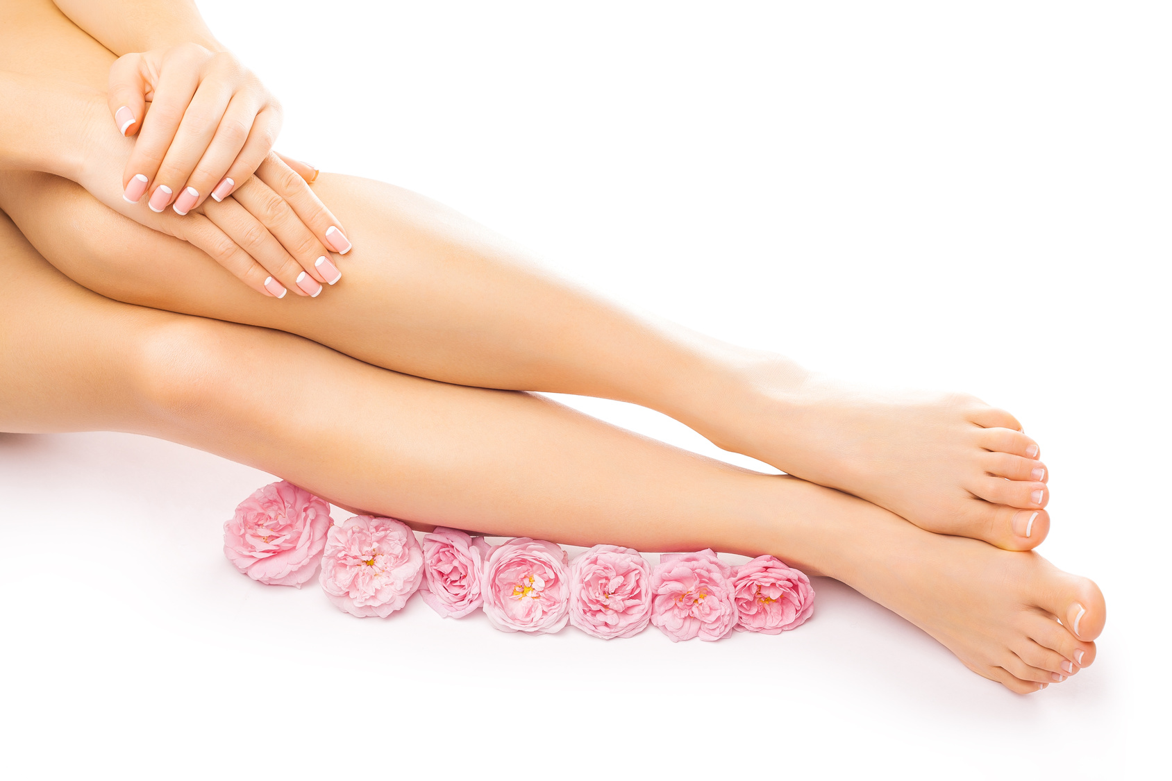 french pedicure and manicure with a pink rose flower isolated on the white